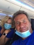 on plane with masks